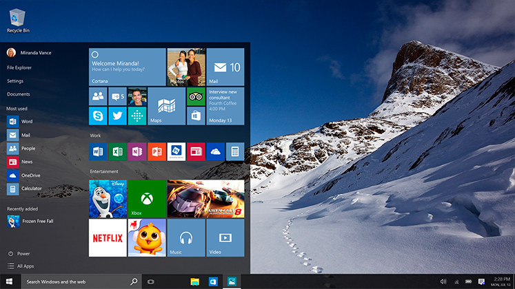 An example of Windows 10's User Interface